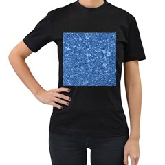 MARBLE BLUE Women s T-Shirt (Black) (Two Sided)