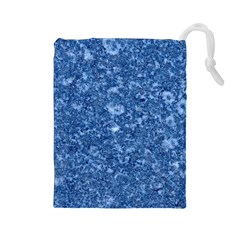 MARBLE BLUE Drawstring Pouches (Large)
