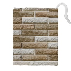 LIGHT BRICK WALL Drawstring Pouches (XXL)