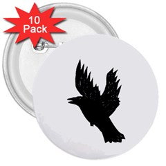 Crow 3  Buttons (10 pack)