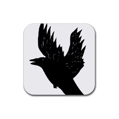 Crow Rubber Square Coaster (4 pack)