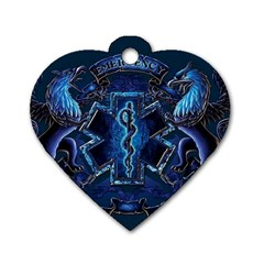 Ems Blue Dog Tag Heart (one Side)