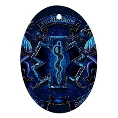 Ems Blue Oval Ornament (Two Sides)