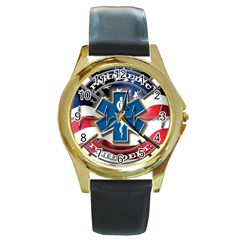 American Paramedic Round Gold Metal Watches