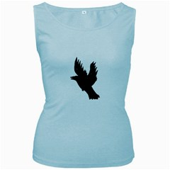 Hovering crow Women s Baby Blue Tank Tops