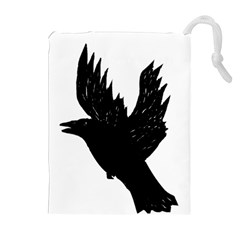 Hovering crow Drawstring Pouches (Extra Large)
