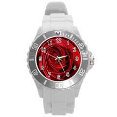 Beautifully Red Round Plastic Sport Watch (L)