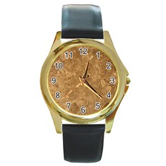 GRANITE BROWN 1 Round Gold Metal Watches