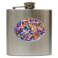 COLORED PEBBLES Hip Flask (6 oz)