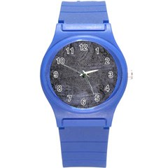 BLUE STUCCO TEXTURE Round Plastic Sport Watch (S)
