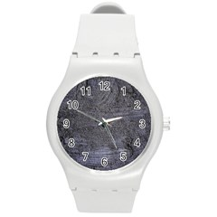 BLUE STUCCO TEXTURE Round Plastic Sport Watch (M)