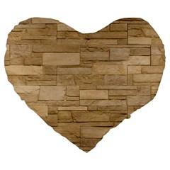 BLOCK WALL 2 Large 19  Premium Flano Heart Shape Cushions