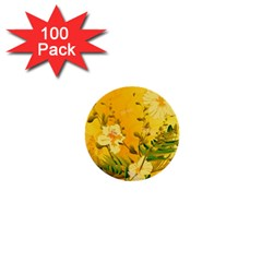 Wonderful Soft Yellow Flowers With Dragonflies 1  Mini Buttons (100 pack)