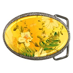 Wonderful Soft Yellow Flowers With Dragonflies Belt Buckles