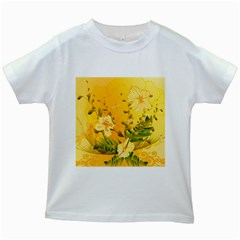 Wonderful Soft Yellow Flowers With Dragonflies Kids White T-Shirts