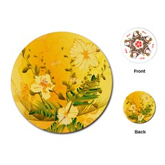 Wonderful Soft Yellow Flowers With Dragonflies Playing Cards (Round)
