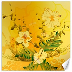 Wonderful Soft Yellow Flowers With Dragonflies Canvas 12  x 12