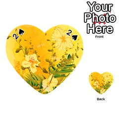 Wonderful Soft Yellow Flowers With Dragonflies Playing Cards 54 (heart)