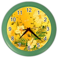 Wonderful Soft Yellow Flowers With Dragonflies Color Wall Clocks