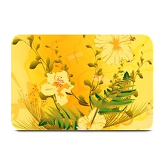 Wonderful Soft Yellow Flowers With Dragonflies Plate Mats
