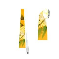 Wonderful Soft Yellow Flowers With Dragonflies Neckties (one Side)