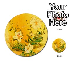 Wonderful Soft Yellow Flowers With Dragonflies Multi Purpose Cards (round)