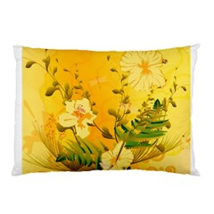 Wonderful Soft Yellow Flowers With Dragonflies Pillow Cases