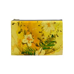 Wonderful Soft Yellow Flowers With Dragonflies Cosmetic Bag (Medium)
