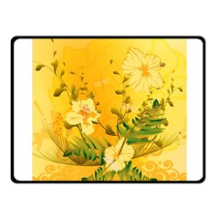 Wonderful Soft Yellow Flowers With Dragonflies Fleece Blanket (small)