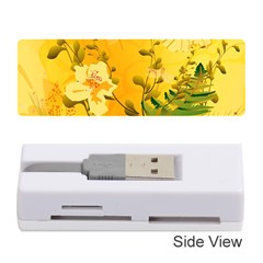 Wonderful Soft Yellow Flowers With Dragonflies Memory Card Reader (Stick)