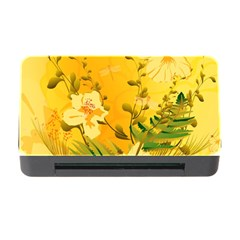 Wonderful Soft Yellow Flowers With Dragonflies Memory Card Reader with CF