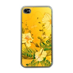 Wonderful Soft Yellow Flowers With Dragonflies Apple iPhone 4 Case (Clear)