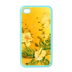 Wonderful Soft Yellow Flowers With Dragonflies Apple iPhone 4 Case (Color)