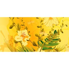 Wonderful Soft Yellow Flowers With Dragonflies You Are Invited 3d Greeting Card (8x4)