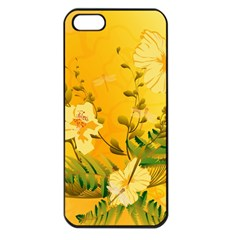 Wonderful Soft Yellow Flowers With Dragonflies Apple iPhone 5 Seamless Case (Black)