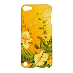 Wonderful Soft Yellow Flowers With Dragonflies Apple iPod Touch 5 Hardshell Case
