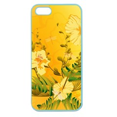 Wonderful Soft Yellow Flowers With Dragonflies Apple Seamless iPhone 5 Case (Color)