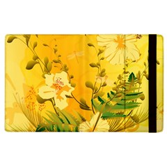 Wonderful Soft Yellow Flowers With Dragonflies Apple iPad 2 Flip Case