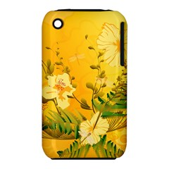 Wonderful Soft Yellow Flowers With Dragonflies Apple iPhone 3G/3GS Hardshell Case (PC+Silicone)