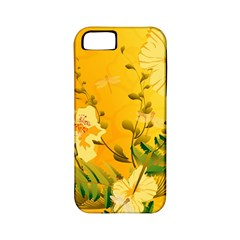 Wonderful Soft Yellow Flowers With Dragonflies Apple iPhone 5 Classic Hardshell Case (PC+Silicone)