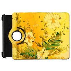 Wonderful Soft Yellow Flowers With Dragonflies Kindle Fire HD Flip 360 Case