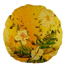 Wonderful Soft Yellow Flowers With Dragonflies Large 18  Premium Round Cushions
