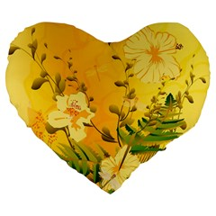 Wonderful Soft Yellow Flowers With Dragonflies Large 19  Premium Heart Shape Cushions