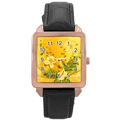 Wonderful Soft Yellow Flowers With Dragonflies Rose Gold Watches