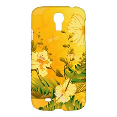 Wonderful Soft Yellow Flowers With Dragonflies Samsung Galaxy S4 I9500/I9505 Hardshell Case