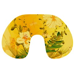 Wonderful Soft Yellow Flowers With Dragonflies Travel Neck Pillows