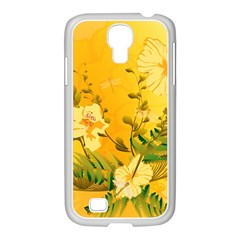 Wonderful Soft Yellow Flowers With Dragonflies Samsung GALAXY S4 I9500/ I9505 Case (White)