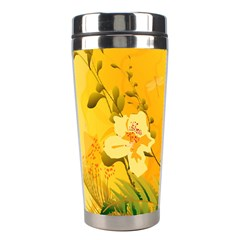 Wonderful Soft Yellow Flowers With Dragonflies Stainless Steel Travel Tumblers
