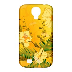 Wonderful Soft Yellow Flowers With Dragonflies Samsung Galaxy S4 Classic Hardshell Case (PC+Silicone)