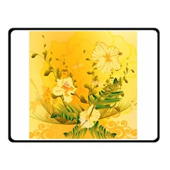 Wonderful Soft Yellow Flowers With Dragonflies Double Sided Fleece Blanket (small)